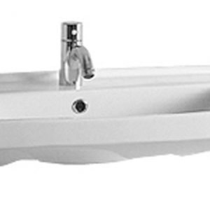 LU024-1H - Isabella Collection Rectangular Wall Mount Bath Basin with Single Hole Faucet Drilling, Chrome Overflow and Rear Center Drain