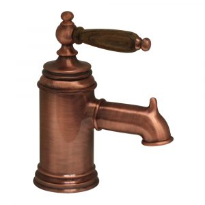 N21-OC - Fountainhaus Single Hole/Single Lever Lavatory Faucet with Cherry Wood Handle and Pop-up Waste
