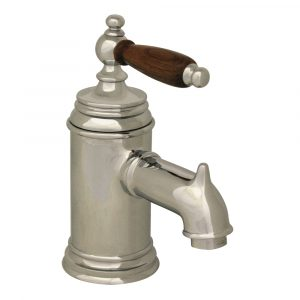 N21-C - Fountainhaus Single Hole/Single Lever Lavatory Faucet with Cherry Wood Handle and Pop-up Waste