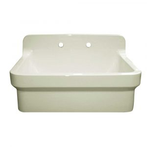 OFCH2230-BISCUIT - Old Fashioned Country Fireclay Utility Sink with High Backsplash
