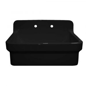 OFCH2230-BLACK - Old Fashioned Country Fireclay Utility Sink with High Backsplash