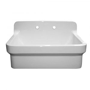 OFCH2230-WHITE - Old Fashioned Country Fireclay Utility Sink with High Backsplash