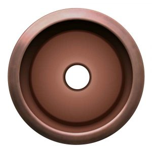 WH1818COPR-OBS - Copperhaus Large Round Drop-in/Undermount Prep Sink with a Smooth Texture