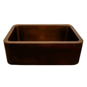 WH2519COFC-OBS - Copperhaus Rectangular Undermount Sink with Smooth Front Apron