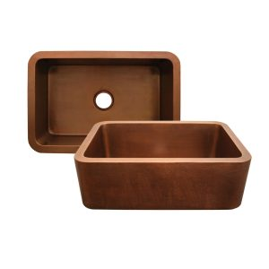 WH3020COFC-OCH - Copperhaus Rectangular Undermount Sink with Hammered Front Apron