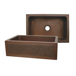 WH3020COFCBW-OBS - Copperhaus Rectangular Undermount Sink with a Basket Weave Design Front Apron