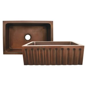 WH3020COFCFL-OCS - Copperhaus Rectangular Undermount Sink with a Fluted Design Front Apron