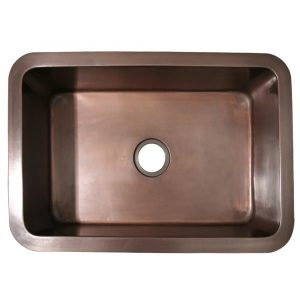 "WH3020COUM-OBS - Copperhaus Rectangular Undermount Sink with a Smooth Texture and 3 ?"" Center Drain"