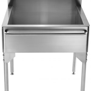 WH302510-NP - Pearlhaus Brushed Stainless Steel Single Bowl Commerical Freestanding Utility Sink with Towel Bar