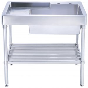 WH33209-LEG-NP - Pearlhaus Brushed Stainless Steel  Single Bowl, Freestanding Utility Sink with Drainboard and Lower Rack