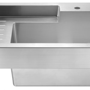 WH33209-NP - Pearlhaus Brushed Stainless Steel Single Bowl Drop in Utility Sink with Drainboard