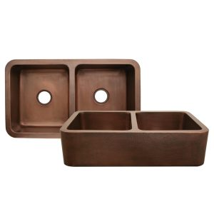 WH3621COFCD-OCH - Copperhaus Rectangular Double Bowl Undermount Sink with Hammered Front Apron