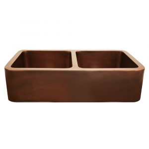 WH3621COFCD-OCS - Copperhaus Rectangular Double Bowl Undermount Sink with Smooth Front Apron