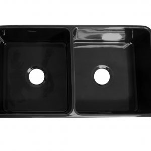 WH3719-BLACK - Farmhaus Fireclay Duet Series Reversible Sink with Smooth Front Apron