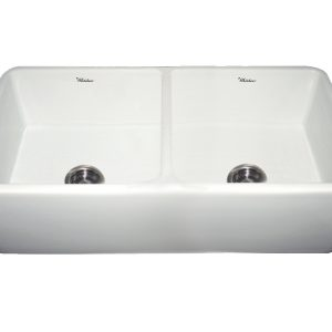 WH3719-WHITE - Farmhaus Fireclay Duet Series Reversible Sink with Smooth Front Apron
