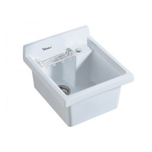 WH474-53 - Vitreous China Single Bowl, Drop-in Sink with Wire Basket and 3 ? Inch Off Center Drain