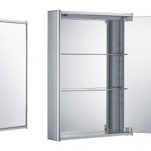 WHCAR-35 - Medicinehaus Single Mirrored Door Anodized Aluminum Medicine Cabinet