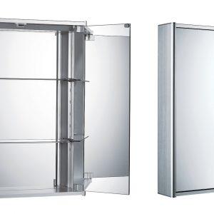WHCAR-42 - Medicinehaus Double Mirrored Door Anodized Aluminum Medicine Cabinet