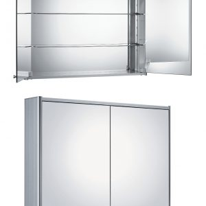 WHCAR-48 - Medicinehaus Double Mirrored Door Anodized Aluminum Medicine Cabinet