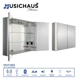 WHFEL7089-S - Musichaus Double Mirrored Door Medicine Cabinet with USB, SD Card, Bluetooth, FM radio, Speakers, Defogger, & Dimmer