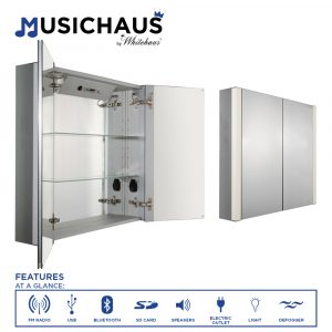 WHFEL8069-S - Musichaus Double Mirrored Door Medicine Cabinet with USB, SD Card, Bluetooth, FM radio, Speakers, Defogger, & Dimmer