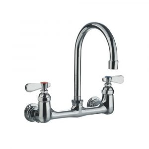 WHFS9814-P4-C - Heavy Duty Wall Mount Utility Faucet with a Gooseneck Swivel Spout and Lever Handles