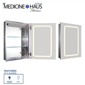 WHKAL7055-I - Medicinehaus Recessed Single Mirrored Door Medicine Cabinet with Outlet and LED Power Dimmer for Light