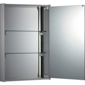 WHKEM-23 - Medicinehaus Single Mirrored Door Surface Mount Anodized Aluminum Medicine Cabinet