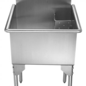 WHLS2020-NP - Pearlhaus Brushed Stainless Steel Small Square, Single Bowl Commerical Freestanding Utility Sink
