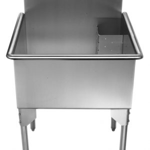 WHLS2424-NP - Pearlhaus Brushed Stainless Steel Square, Single Bowl Commerical Freestanding Utility Sink