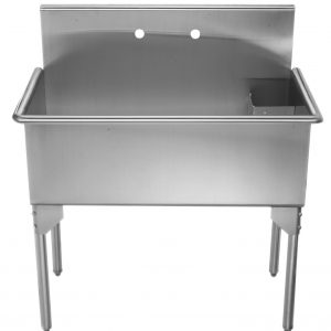 WHLS3618-NP - Pearlhaus Brushed Stainless Steel  Large, Single Bowl Commerical Freestanding Utility Sink