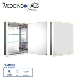 WHLUN7055-IR - Medicinehaus Recessed Single Mirrored Door Medicine Cabinet with Outlet, Defogger, LED Power Button and Dimmer for Light