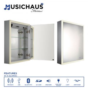 WHLUN7055-OR - Musichaus Single Mirrored Door Medicine Cabinet with USB, SD Card, Bluetooth, FM radio, Speakers, Defogger, & Dimmer