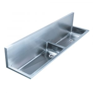 """WHNCD72 - Noah's Collection Brushed Stainless Steel Double Bowl Wall Mount Utility Sink with 2 1/2"""" Far Right Center Drain in the Left Bowl and 2"""" Inch Offset Drain in the Right"""