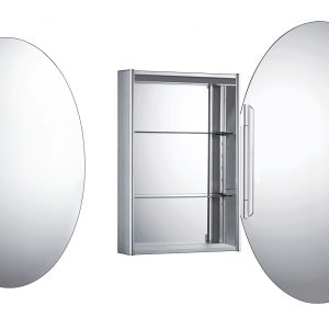 WHOLI - Medicinehaus Single Oval Mirrored Door Anodized Aluminum Medicine Cabinet