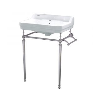 WHV024-L33-1H-PN - Victoriahaus console with integrated rectangular bowl with single hole drill, Polished Nickel leg support, interchangable towel bar, backsplash and overflow