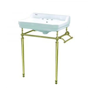 WHV024-L33-3H-B - Victoriahaus console with integrated rectangular bowl with widespread hole drill, Polished Brass leg support, interchangable towel bar, backsplash and overflow