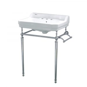 WHV024-L33-3H-C - Victoriahaus console with integrated rectangular bowl with widespread hole drill, polished chrome leg support, interchangable towel bar, backsplash and overflow