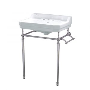 WHV024-L33-3H-PN - Victoriahaus console with integrated rectangular bowl with widespread hole drill, Polished Nickel leg support, interchangable towel bar, backsplash and overflow