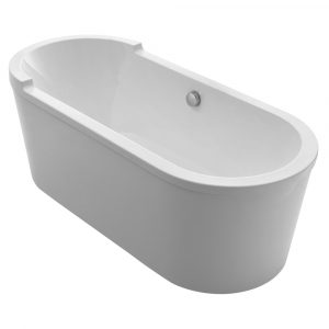 WHVT180BATH - Bathhaus Oval Double Ended Single Sided Armrest Freestanding Lucite Acrylic Bathtub